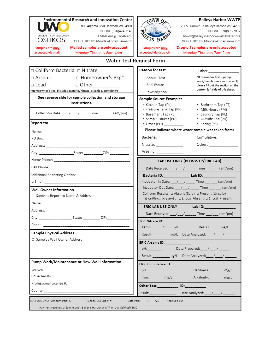 Water Test Request Form p1